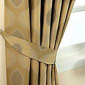 Homescapes Gold Jacquard Tie Back Pair Modern Curve Design