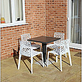 Brackenstyle Madrid Pedestal Table and 4 Bianco White Neptune Chairs - Seats 4
