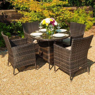 Buy Maze Rattan - Baby LA 4 Seat Dining Set - 74cm Round - Brown ...