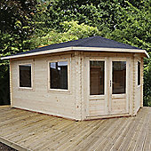 Double Glazed Right Sided Corner Lodge Grande Log Cabin, 44mm, 16x10ft