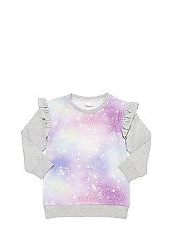 F&F Space Print Long Line Sweatshirt - Grey