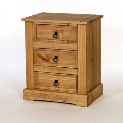 Home Essence Windmill 3 Drawer Bedside Table in Pine