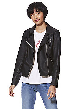 Only Faux Leather Biker Jacket - Black
