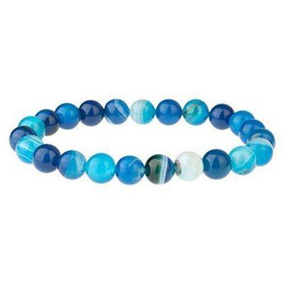 Blue Agate Men's Beaded Gemstone Bracelet 8mm