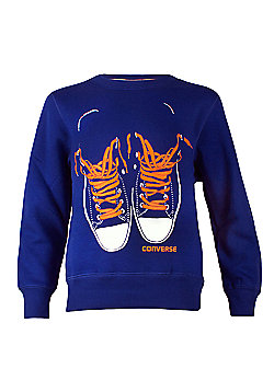 Converse - Boys Sweater - Blue W/ Orange Shoelace Detail - Various Sizes - Blue