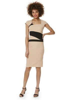 Feverfish Crepe Asymmetric Waist Pencil Dress 12 Beige