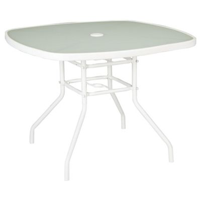 Seville Round Glass & Steel Garden Table - White