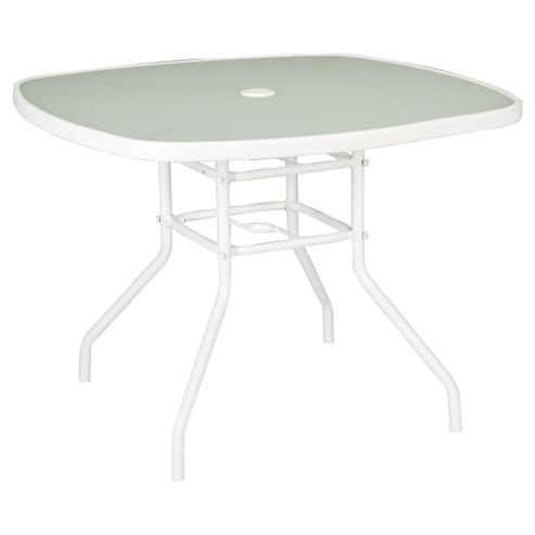 Seville Round Glass & Steel Garden Table - White