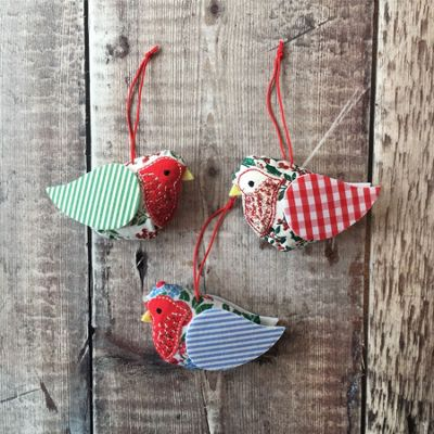 Patchwork Robin Christmas Decoration