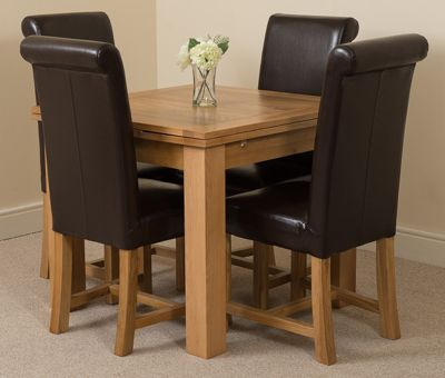 Richmond Solid Oak Extending 90 - 150 cm Dining Table with 4 Brown Washington Leather Dining Chairs
