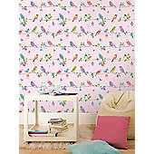 Hoopla Pretty Birds Pink Wallpaper 10m