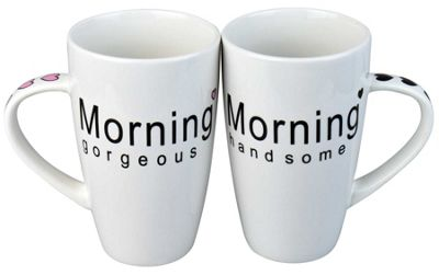 Rink Drink Morning Gorgeous / Handsome Coffee Mug Set - Gift Boxed - 410ml