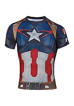 Under Armour Captain America Body Compression Baselayer Shirt - Blue