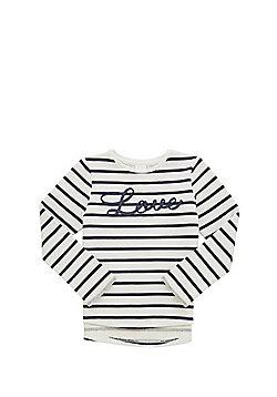 F&F Slogan Striped Sweatshirt - Navy