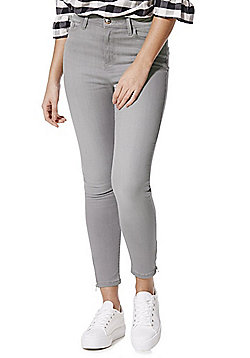 F&F Contour Zip Detail High Rise Super Skinny Jeans with LYCRA® BEAUTY - Grey wash