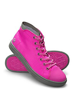 Zakti Boys Kids Re-boot High Top Trainers w/ Memory Foam Insoles & Ripstop Upper - Bright pink
