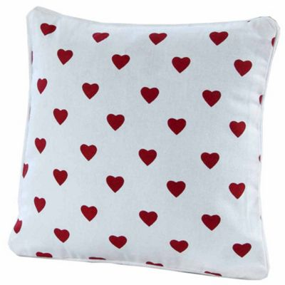 Homescapes Cotton Red Hearts Cushion Cover, 30 x 30 cm