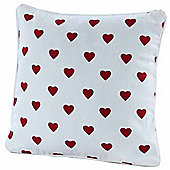 Homescapes Cotton Red Hearts Scatter Cushion, 30 x 30 cm