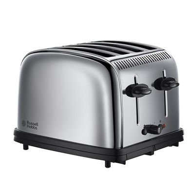 Russell Hobbs Stainless Steel Classic 4-Slice Toaster, Removable Crumb Tray (Silver)