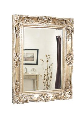 Large Ornate Champagne Silver Antique Wall Mirror 3Ft10 X 2Ft11 119Cm X 89Cm