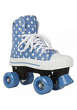 Rookie Quad Roller Skates - Canvas High Polka Dot Red/White - Blue