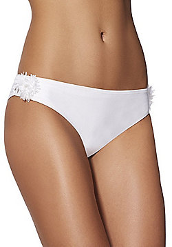 F&F Bridal Petal Trim Bikini Briefs - White