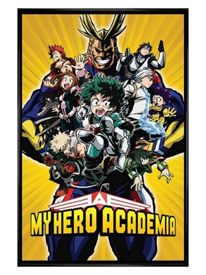 My Hero Academia Gloss Black Framed Radial Character Burst Poster 61x91.5cm