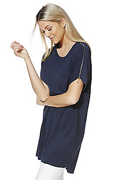 Voulez Vous Zip Shoulder Tunic Top - Navy