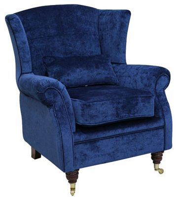 Wing Chair Fireside High Back Armchair Velluto Royal Blue Fabric