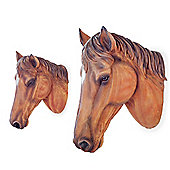 Pair of Wall Mountable Realistic Brown Horse Head Garden Feature Ornaments