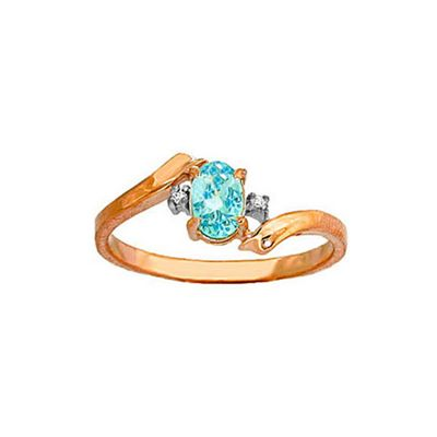 QP Jewellers Diamond & Blue Topaz Embrace Ring in 14K Rose Gold - Size H