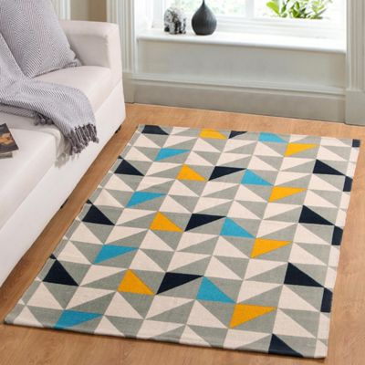 Homescapes Copenhagen Handwoven Blue, Yellow and Grey Geometric Style Scandi Printed Rug, 66 x 200 cm