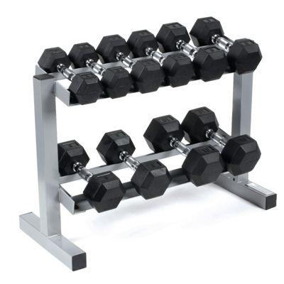 Body Power Rubber Hex Dumbbells & Rack 3,4,6,8 & 10Kg