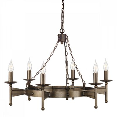 Old Bronze 6lt Chandelier - 6 x 60W E14