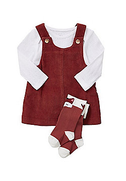 F&F Corduroy Pinafore Dress, Bodysuit and Tights Set - Multi
