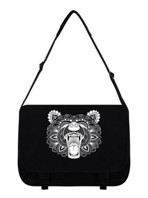 Unorthodox Bear Mandala Messenger Bag 38 x 33 x 11cm Black