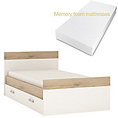 4KIDS Single bed (Lilac handles) with under drawer and memory foam mattress