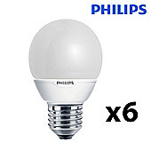 Pack of 6 Philips 7W ES E27 Energy Saving CFL Golfball Bulbs in Warm White