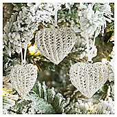 Weiste Glass Crystal Heart Christmas Tree Decorations, 3 pack