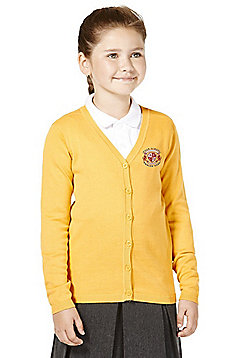 Girls Embroidered Cotton School Cardigan with As New Technology - Gold yellow
