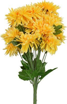 Artificial Long Stem Chrysanthemum Flowers In Yellow - 68cm - Bunch Of 6 Stems