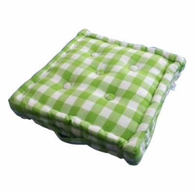 Homescapes Cotton Green Block Check Floor Cushion, 50 x 50 cm