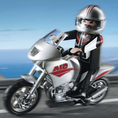 Playmobil Gray Motorcycle with Rider