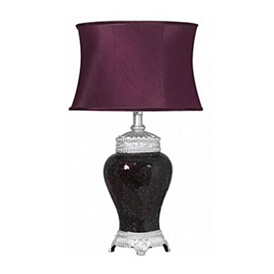 Sparkle Mosaic Antique Silver Regency Lamp With Silver Trimmed Auburgine Shade