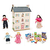 Le Toy Van Cherry Tree Hall with Starter Furniture Set and My Family of 4 Dolls