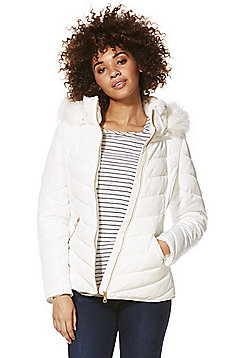 F&F Faux Fur Trim Shower Resistant Padded Jacket - White