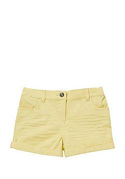 F&F Twill Turn-Up Shorts - Yellow