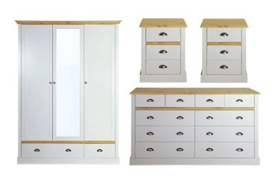 Sandringham Bedroom Set (Triple Wardrobe with 2 Drawers, Chest of Drawers & 2 Bedside Tables), Grey