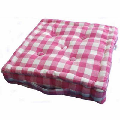 Homescapes Cotton Pink Block Check Floor Cushion, 40 x 40 cm