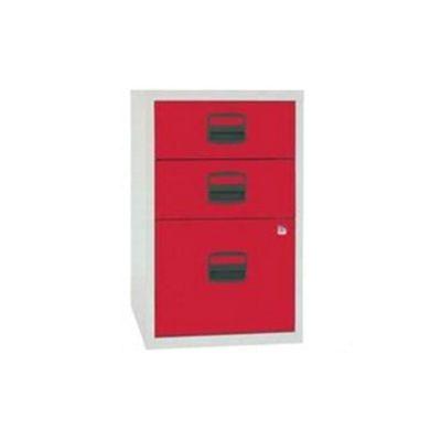 Bisley A4 Homefiler 3 Drawer Lockable Grey/Red PFA3-8794